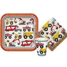 Construction party plates Big rig plates by evescrafts on Etsy