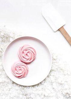 pretty pink rose meringues