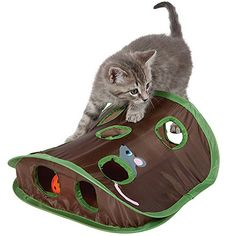 ANG Cat Mice Toy Hide  Seek Game Popup Collapsible Puzzle Exercise Toy 9 Holes Mouse Hunt with Bellball >>> Continue to the product at the image link.(This is an Amazon affiliate link)