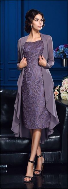 Lavender Sheath Lace Mother Of The Bride Dresses For Weddings With Long Jacket Appliqued Evening Gowns Plus Size Mothers Guest Dress Unique Wedding Gowns, Wedding Attire, Wedding Dresses, Bride Dresses, Elegant Dresses, Pretty Dresses, Beautiful Dresses, Formal Dresses, Mother Of Groom Dresses