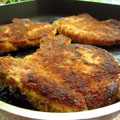 Garlic & Parmesan Crusted Pork Chops Recipe- skip the bread crumbs and use crunched up potato chips
