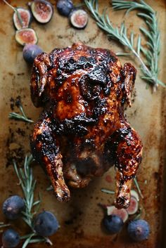 Sticky, succulent and oh so divine, this fig rosemary sticky glazed roast chicken is fast enough for a weeknight meal or your Thanksgiving turkey.