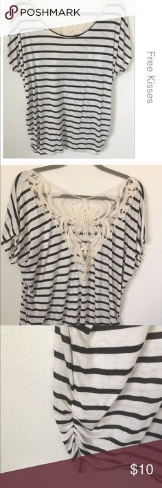 Black & Cream Striped Top Brand new with tags. Pretty lace detail on back.  Gathering on both sides. 50% polyester 45% rayon 5% spandex. Reposh Tops Blouses