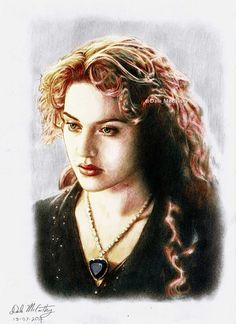 """Kate Winslet as Rose, from """"Titanic"""". Digitally colourized HB and 4B pencil drawing, A4 size."""