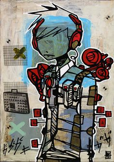 """Beat Connection 12"""" x 17"""" mixed media on wood - Sold"""