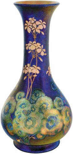 Zsolnay, Hungary, ceramic vase with floral decor