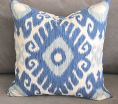 Ikat Blue Throw Pillow with Soft Teal Accents, Blue Sofa Pillow, 20x20 pillow cover, Ikat print. by GratefulHome on Etsy https://www.etsy.com/listing/226094774/ikat-blue-throw-pillow-with-soft-teal