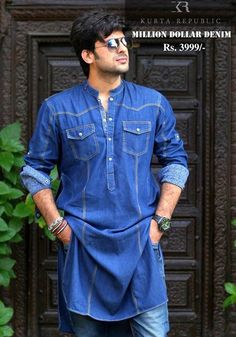 Long Denim Men's Kurta with Pajama Latest Kurta Designs, Mens Kurta Designs, Designer Suits For Men, Designer Clothes For Men, Pathani Kurta Men, Mens Shalwar Kameez, Boys Kurta Design, Gents Kurta, Kurta Patterns