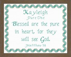 Cross Stitch Kayleigh with a name meaning and a Bible verse
