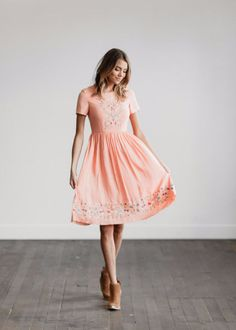 Embroidered Peach Dress | CLAD & CLOTH – cladandcloth