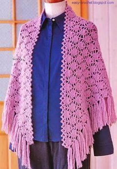 Stylish Easy Crochet: Crochet Pattern Of Shawl - Beautiful And Classic