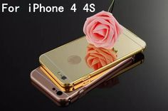 For Apple iPhone 4S iPhone4S Gold Color Matel Frame Mirror Back Plate Luxury Case New Brand Phone Bag Cover
