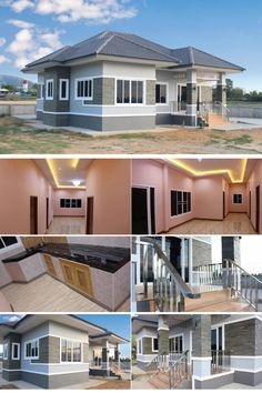 The most prominent feature that you will probably notice in this house is its color combination. The use of gray and off-white creates a subtle look that exudes Architect Design House, House Roof Design, Duplex House Design, Simple House Design, Home Building Design, Modern House Design, House Building, Building Plans, House Plans Mansion