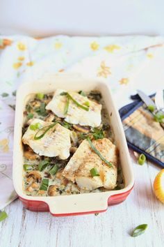 Baked Cod with Mushrooms and Kale