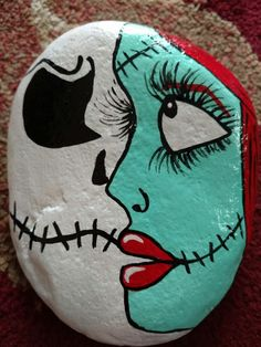 Jack and Sally nightmare before Christmas rock painting