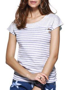 Tees & T-Shirts   Chic Striped Short Sleeve Jewel Neck T-Shirt #summer #fashion #striped #tshirt