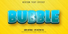 Bubble text, cartoon style editable text...   Premium Vector #Freepik #vector #logo #banner #sale #abstract Unicorn Logo, Sale Logo, Summer Banner, Coffee Logo, Geometric Logo, Logo Food, Text Style, Text Effects, Eps Vector