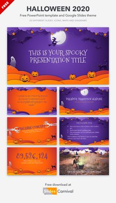 It's Halloween! To get an awesome presentation for this holiday download this free template. It's illustrated with Halloween-related imagery: bats, witches, black cats, ghosts and jack-o'-lanterns... in a paper-cut style. This theme will help you get your spook on this Halloween! Halloween 2020, Happy Halloween, Halloween Scavenger Hunt, Black Cats, Bats, Presentation Templates, Ghosts, Witches, Teaching Resources