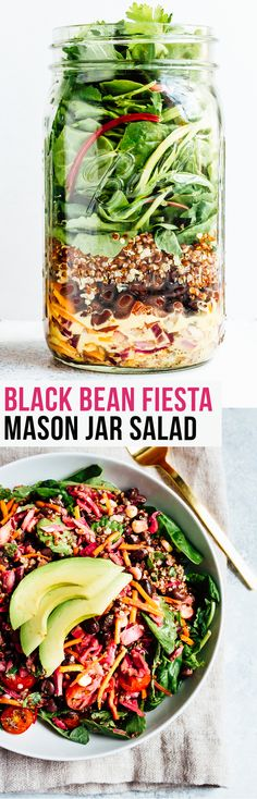 This black bean fiesta mason jar salad makes for a colorful, convenient on-the-go meal. The lime jalapeño dressing is zesty and really ties the whole salad together.