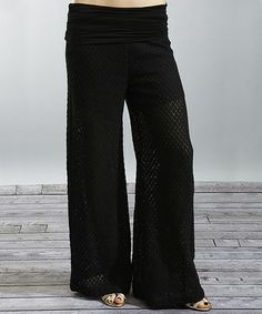 Take a look at this Black Pointelle Pants by Young Threads on #zulily today!