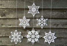 Items similar to Christmas decoration - snowflakes mobile - elegant Christmas decoration - Christmas holiday decor - 3 crochet snowflake and wood ornament on Etsysnowflake decor - Etsy's Woodstorming shop is known for charming products like these s Elegant Christmas Decor, Decoration Christmas, Snowflake Decorations, Christmas Wall Art, Noel Christmas, Handmade Decorations, Christmas Crafts, Christmas Ornaments, Holiday Decor