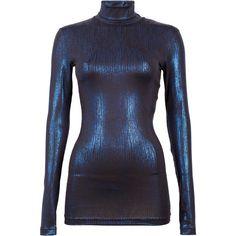 Baum und Pferdgarten Jamia Metallic Blouse (1,430 MXN) ❤ liked on Polyvore featuring tops, blouses, blue, turtle neck blouse, blue top, baum und pferdgarten, blue turtleneck and metallic turtleneck