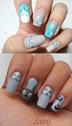 totoro nail art!!