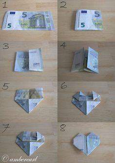 How to Make a Heart Money.jpg – Diy Gifts Ideas – Geschenke – super gifts How to Make a Heart Money.jpg – Diy Gifts Ideas – Geschenke How to Make a Heart Money. Money Origami, Origami Easy, Don D'argent, Diy Wedding, Wedding Gifts, Creative Money Gifts, Gift Money, Folding Money, Diy And Crafts