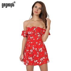 f1b87dc44a Gagaopt 2017 Summer Jumpsuits Women Casual Floral Print Party Ruffle  Shoulder Playsuits Chiffon Beach Sexy High Waist Bodysuits