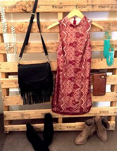 Dark red lace dress