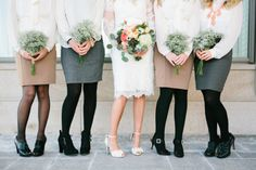 Skirts, blouses and tights make for comfortable, casual chic at this Salt Lake City winter wedding.