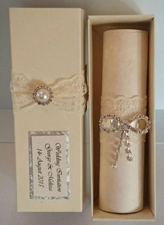 Personalised Wedding Invitation Boxed Vintage Scrolls Lace Pearl Rhinestone Bow - maybe just for the parents or immediate family? Scroll Wedding Invitations, Scroll Invitation, Quince Invitations, Personalised Wedding Invitations, Invitation Card Design, Wedding Invitation Wording, Personalized Wedding, Wedding Stationery, Event Invitations