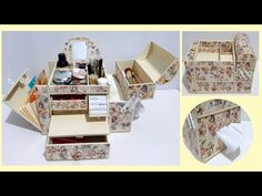 The Best DIY - 2 in 1 Jewelry Box and Makeup Organizer From Cardboard - YouTube Diy Makeup Organizer Cardboard, Cardboard Jewelry Boxes, Cardboard Crafts, Cardboard Furniture, Easy Diy Crafts, Craft Stick Crafts, Diy Makeup Kit, Easy Makeup, Origami Box