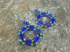 Earrings in Blue Crystals and Tila Beads with by SierraBeader, $28.00