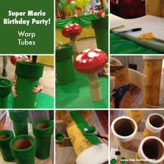 "Welcome to our Super Mario Bros kid's birthday party! Warp Pipes = 2"" foam, sono tubes, paint and glue gun. Makes for some very robust party decor that easily withstood the flurry of tiny fists and feets. The only tricky bit - make sure you cut the foam where it meets up at an angle if you want a perfect seam (to compensate for the fact that the outer diameter is larger than the inner.) -J  #supermario #nintendo #kidsparty"
