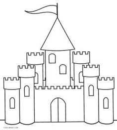 Printable Castle Coloring Pages For Kids Easy Coloring Pages, Disney Coloring Pages, Coloring Pages For Kids, Coloring Books, Art Drawings For Kids, Drawing For Kids, Cardboard Box Crafts, Cardboard Castle, Castle Coloring Page