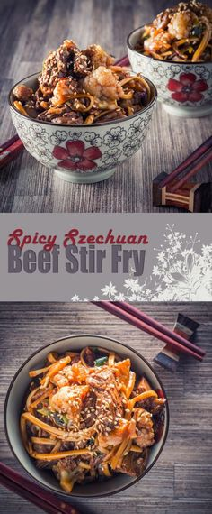 Spicy Szechuan Beef Stir Fry Recipe: A wonderfully simple noodle based beef stir fry dish with hints of Szechuan pepper and chili and all ready in less than 20 minutes.