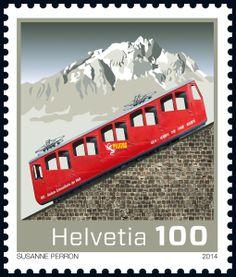 Swiss special stamp: 125 Years Pilatus cogwheel railway www.post.ch/philashop