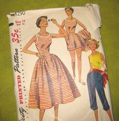 1950s Pedal Pushers   1950s Vintage Sewing Pattern - Shorts, Blouse Pedal Pushers - Summer ...