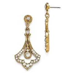 Gold-tone Downton Abbey Edwardian glass fleur drop earrings have surgical steel posts. Weight: 9.33 grams. Dimensions: 7/8in x 2in. Officially licensed Downton Abbey merchandise. Includes Downton Abbey themed gift box. Nickel-free. Import.