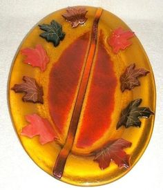 Fused Art Glass Large Decorative Piece Platter/Tray  Fall Maple Leaves  Signed  #ArtistMadeandSigned