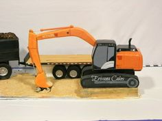 I've done several automobile cakes, but this has been the biggest. It sits on a × cake board and serves 100 people. Digger Cake, Digger Party, Excavator Cake, Dump Truck Cakes, Fondant, Construction Party, Cake Board, Cake Decorating Tips, Cupcake Cakes