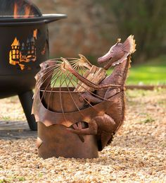 Metal Dragon Fatwood Holder with 5 lbs. of Fatwood in Outdoor Entertaining Fantasy Dragon, Dragon Art, Clay Dragon, Dragon House, Fantasy Creatures, Mythical Creatures, Yard Art, Metal Wall Art, Metal Working