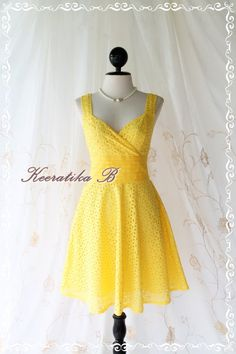 Sound Of Summer II - Sweet Elegant Spring Summer Lacy Sundress Bright Yellow Color Thick Cotton Lace Party Wedding Cocktail Dress. $45,60, via Etsy.