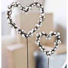 Pearl Wire Heart Pick - could also  be used as part of a shawl pin