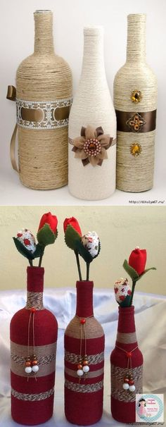 All of these beer bottle crafts offer a mass of ways to repurposing and reinvent this every day product. Beer Bottle Crafts, Wine Bottle Art, Painted Wine Bottles, Diy Bottle, Vodka Bottle, Jute Crafts, Diy And Crafts, Creation Deco, Recycled Bottles
