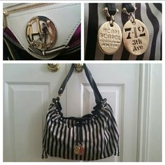 Henri Bendel Drawstring Shoulder Bag This GORGEOUS, unique Henri Bendel shoulder bag features a brown and white striped, cloth exterior with black, leather trim and gold hardware. The satin, magenta interior features white leather trim, a zippered pocket, a slip pocket, and gold accents. The convertible strap can be used as a long, single crossbody strap, or doubled to wear as a short handle. Aside from a couple of small spots on exterior (can probably be cleaned off), the bag is in great…