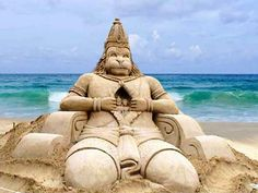 Lord Hanuman Awesome Sand Sculptures Art by Sudarsan Pattnaik