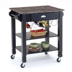 Add functional space to your kitchen with this faux-marble-top kitchen island. Featuring two lower shelves, a drawer, and two towel racks, this island will keep you organized. It can be rolled wherever it's needed, then out of the way when you're done.