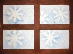 Kunst in der Grundschule: Schneeflocken vor dem Fenster in Spritztechnik